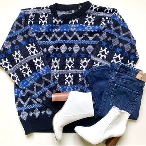 Vintage Style Grandpa Knit Blue Sweater
